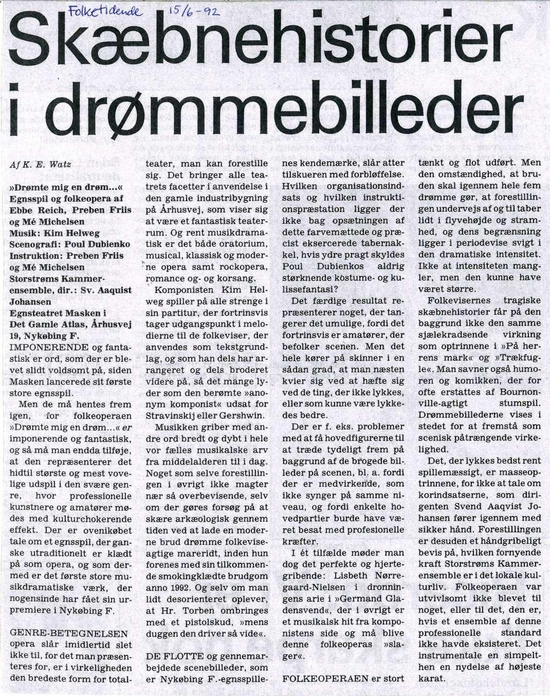 1992 Drømte mig en drøm artikel