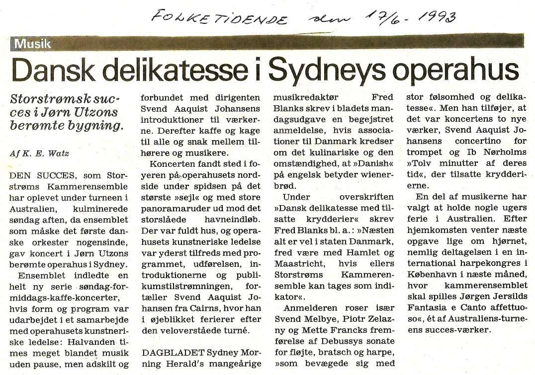 Artikel om koncert i Sydney Opera House