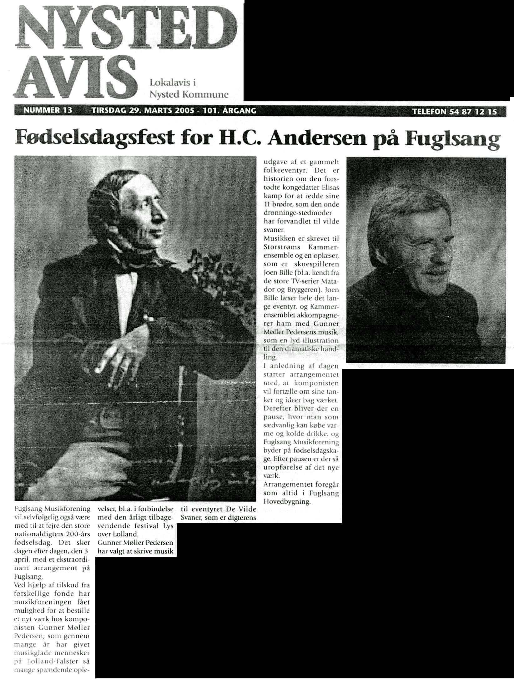 Artikel i Nysted Avis, marts 2005