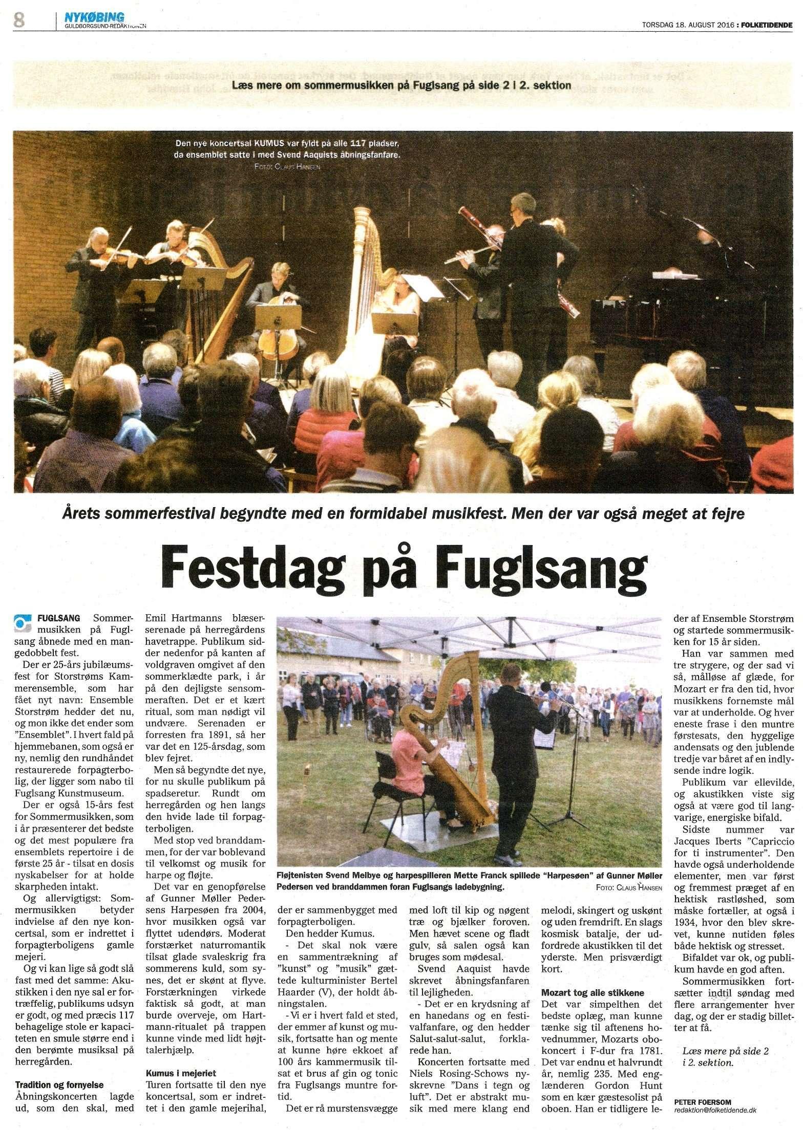 Artikel i Folketidende, aug. 2016